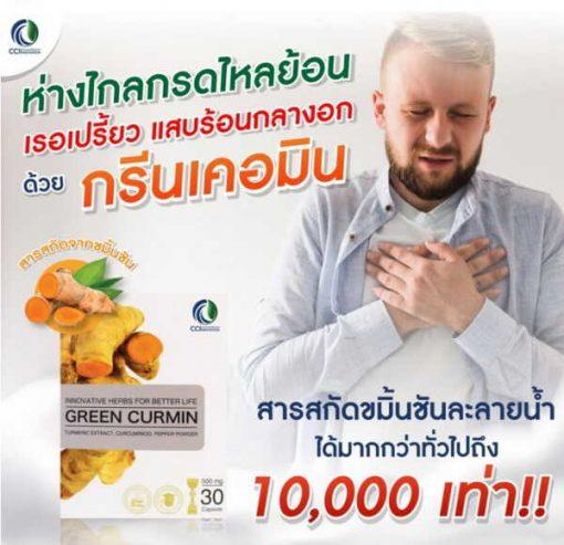 GreenCurmin กรีนเคอมิน แก้กรดไหลย้อน แก้โรคกระเพาะ